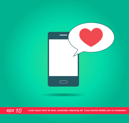 mobile speech red heart icon vector Vector