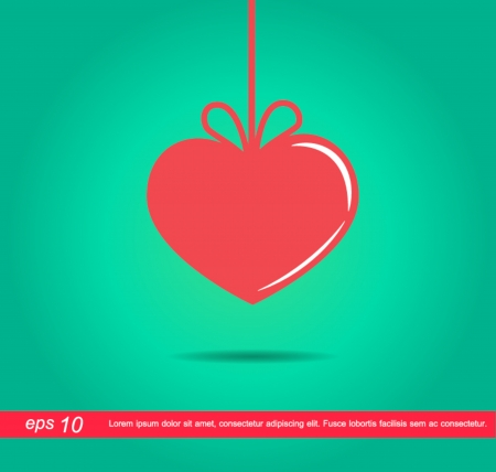 red heart tag with bow vector icon Vector