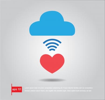 heart clound vector icon
