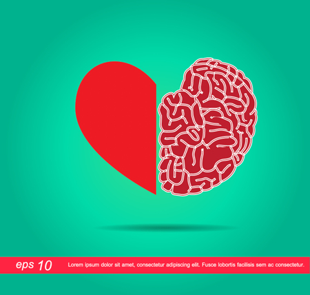 heart and brain vector icon