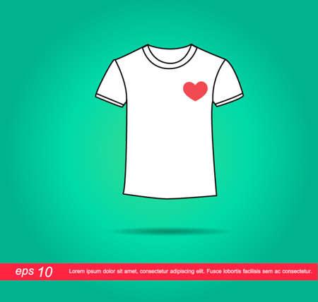 camicia bianca: camicia bianca e cuore vettore icona Vettoriali