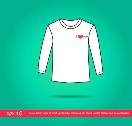 camicia bianca: camicia bianca e il cuore di icone vettoriali Vettoriali