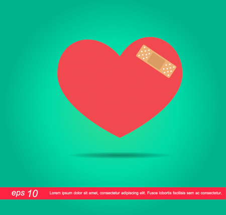broken love: heart and plaster vector icon Illustration
