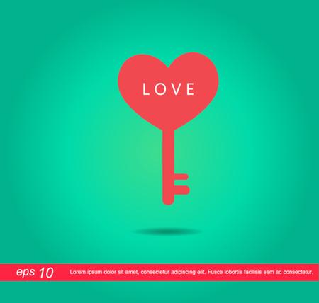heart key love vector icon Vector