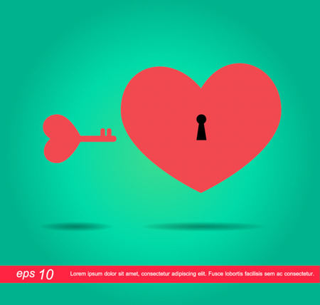 heart key love vector icon Vector