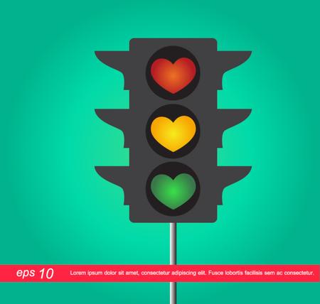 heart traffic light vector icon Vector