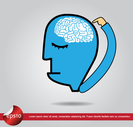 head human hand point brain Vector