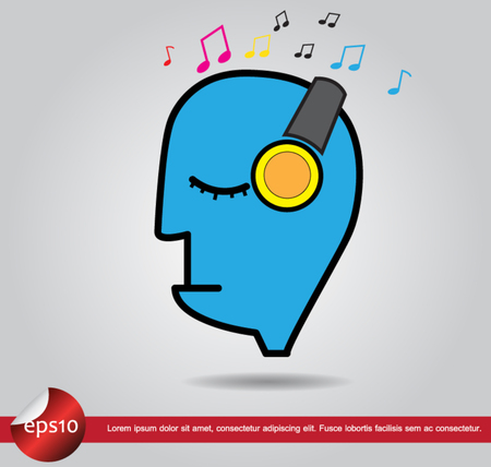 head human listen music vector icon Vector