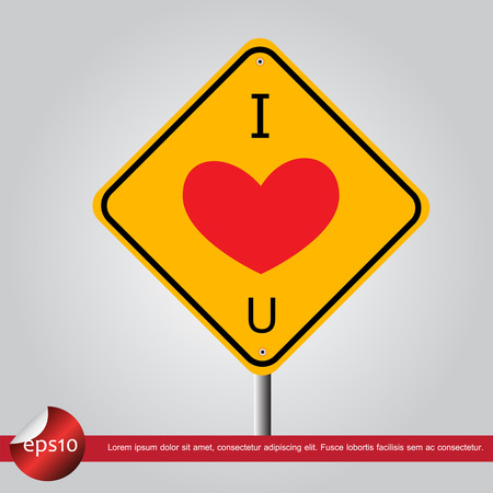 heart in traffic sign vector icon Vector