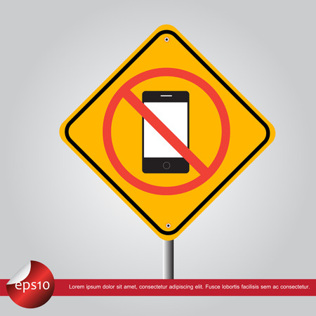phone in traffic sign vector icon Vector