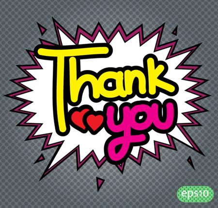 thank you text comic Vector