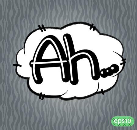 ah: ah text comic vector icon