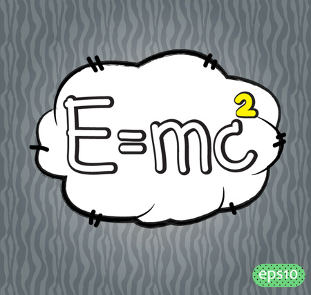 e=mc2 text comic vector icon