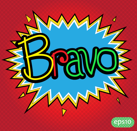 bravo text comic vector icon