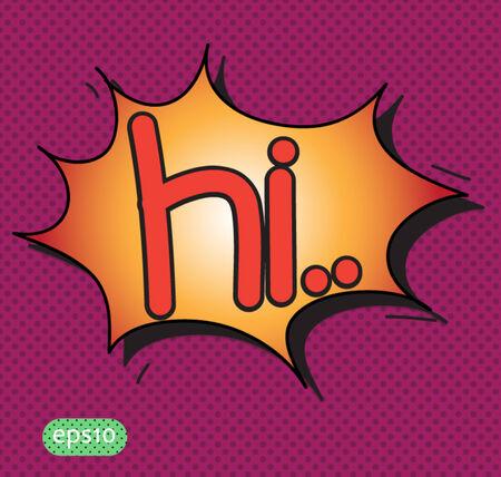 speech ballons: hi text comic vector icon Illustration
