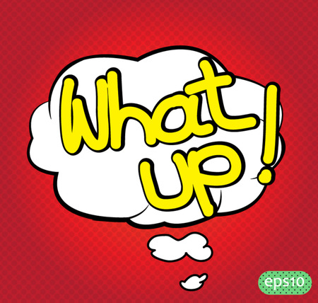 what up text comic vector icon Vector