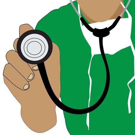 médecin détenant une icône de vecteur de stéthoscope