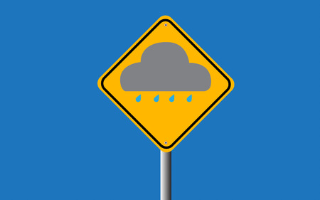 cloud and rain in traffic sign vector Vector
