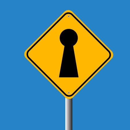 key hole: key hole in traffic sign vector Illustration