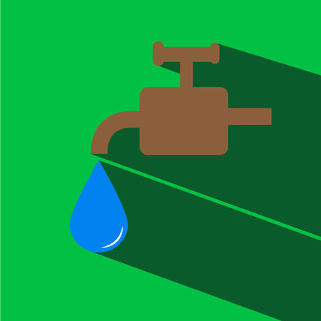 kanalizacja: faucet and water drop vector icon