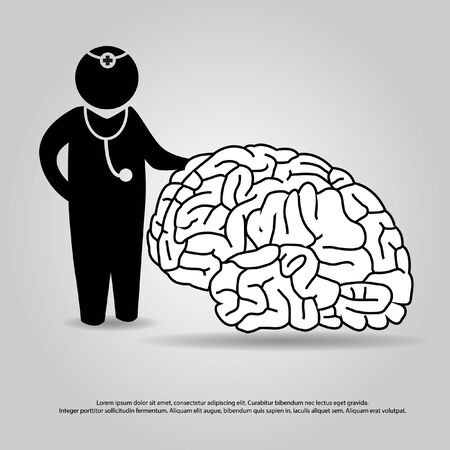 neurosurgery: doctor with brain vector
