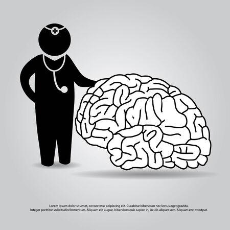 neurologist: doctor with brain vector