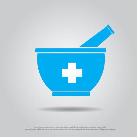 symbol mortar: cross in drug mortar vector icon