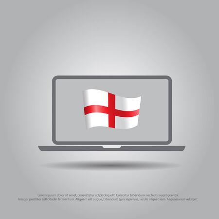 Bandera De Inglaterra En El Icono Del Vector De La Computadora ...