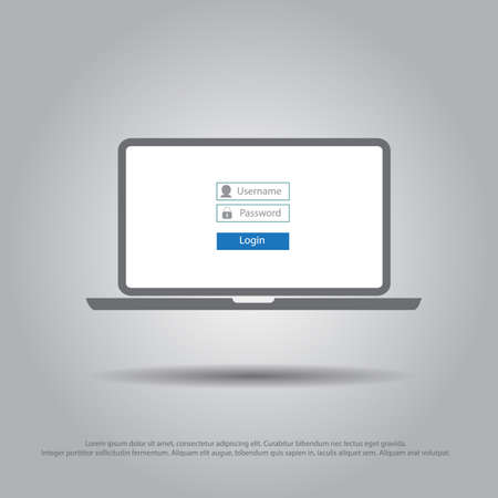 login form: log on in laptop vector icon Illustration