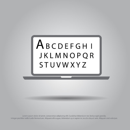 text in laptop vector icon Vector