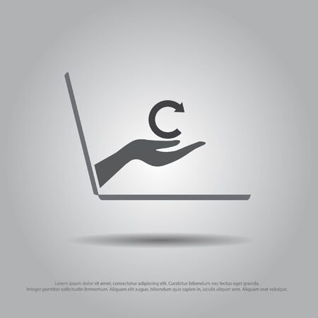 hand hold refresh sign from thd laptop vector icon Vector