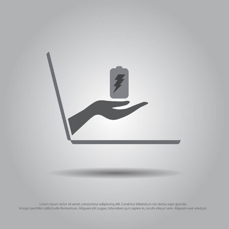 hand  hold battery from the laptop vector icon Vector