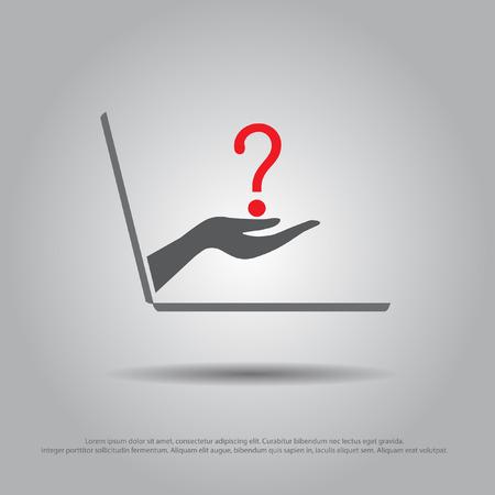 question mark: Hand halten question aus dem Laptop-Vektor-Symbol Illustration
