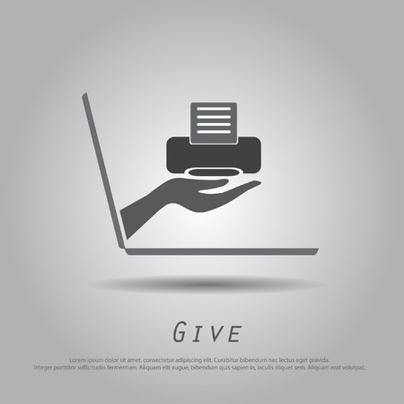 hand hold printer from laptop vector icon Vector
