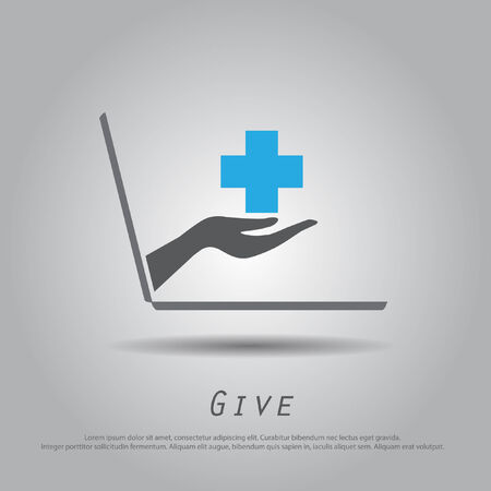 charity person: hand hold cross from laptop vector icon Illustration