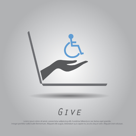 hand hold disable on wheelchair from laptop vector icon Vector