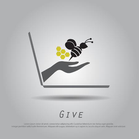 hand hold  bee  from laptop vector icon Vector