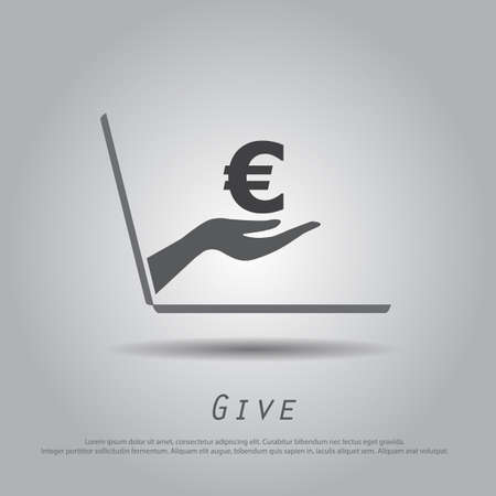 hand holding money bag: hand hold  euro  from laptop vector icon