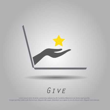hand hold  star  from laptop vector icon Vector