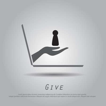 key hole: hand hold  key hole  from laptop vector icon Illustration