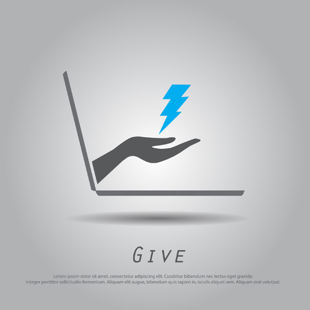 hand hold  thunder  from laptop vector icon Vector