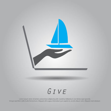 hand hold ship   from laptop vector icon   Vector