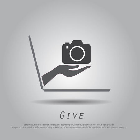 hand hold  camera  from laptop vector icon Vector