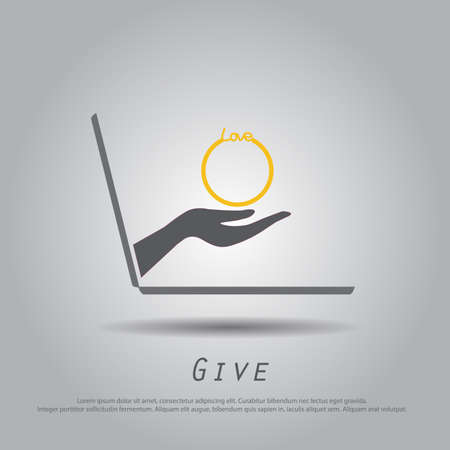ring finger: hand hold  ring from laptop vector icon