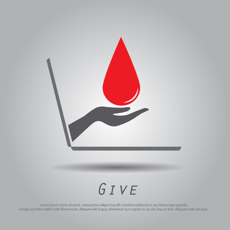 hand hold blood  from laptop vector icon Vector