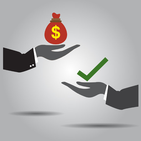 hand exchanging money and  truth  vector icon Vector