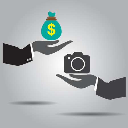 hand exchanging money and  camera vector icon Vector