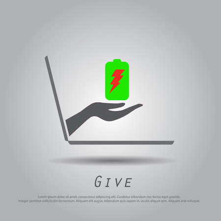 hand hold battery  from laptop vector icon Vector
