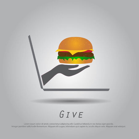 hand hold  hamburger from laptop vector icon   Vector