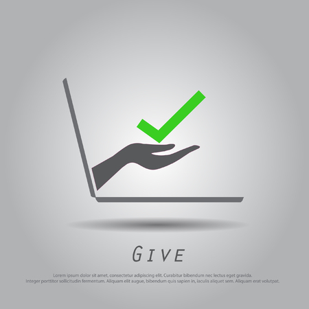 the truth: hand hold truth  from laptop vector icon